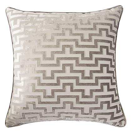 Amazon Com Homey Cozy Modern Velvet Maze Throw Pillow Cover Gray
