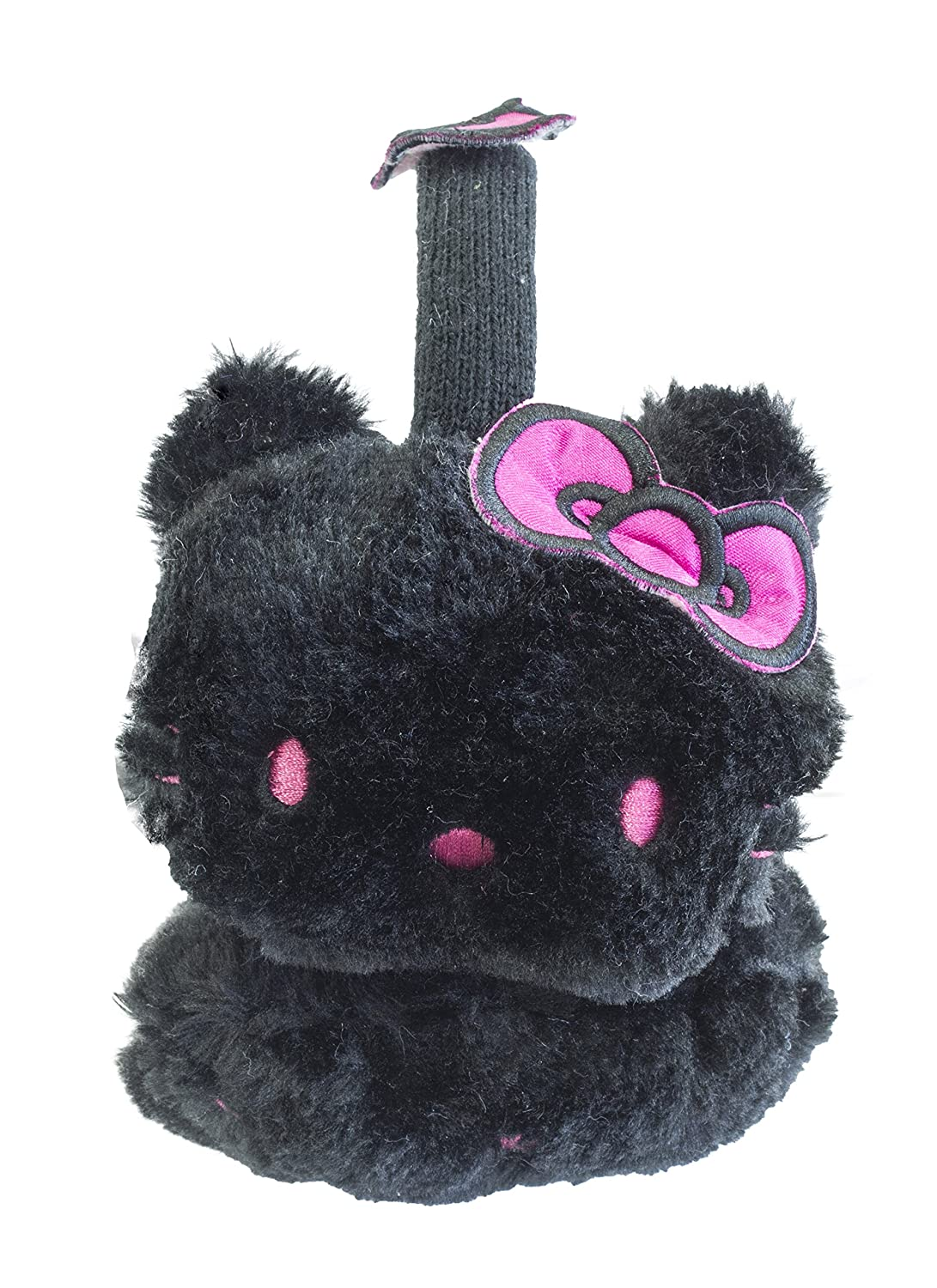 Official Licensed Girls Hello Kitty Black Furry Earmuffs Ear Muffs One Size Pink Bow Design