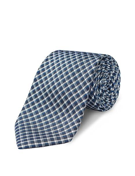 "898e61fadf52 Origin Ties Mens Navy Checkered Tie Handmade 2.5"" 100% Silk Skinny Tie"
