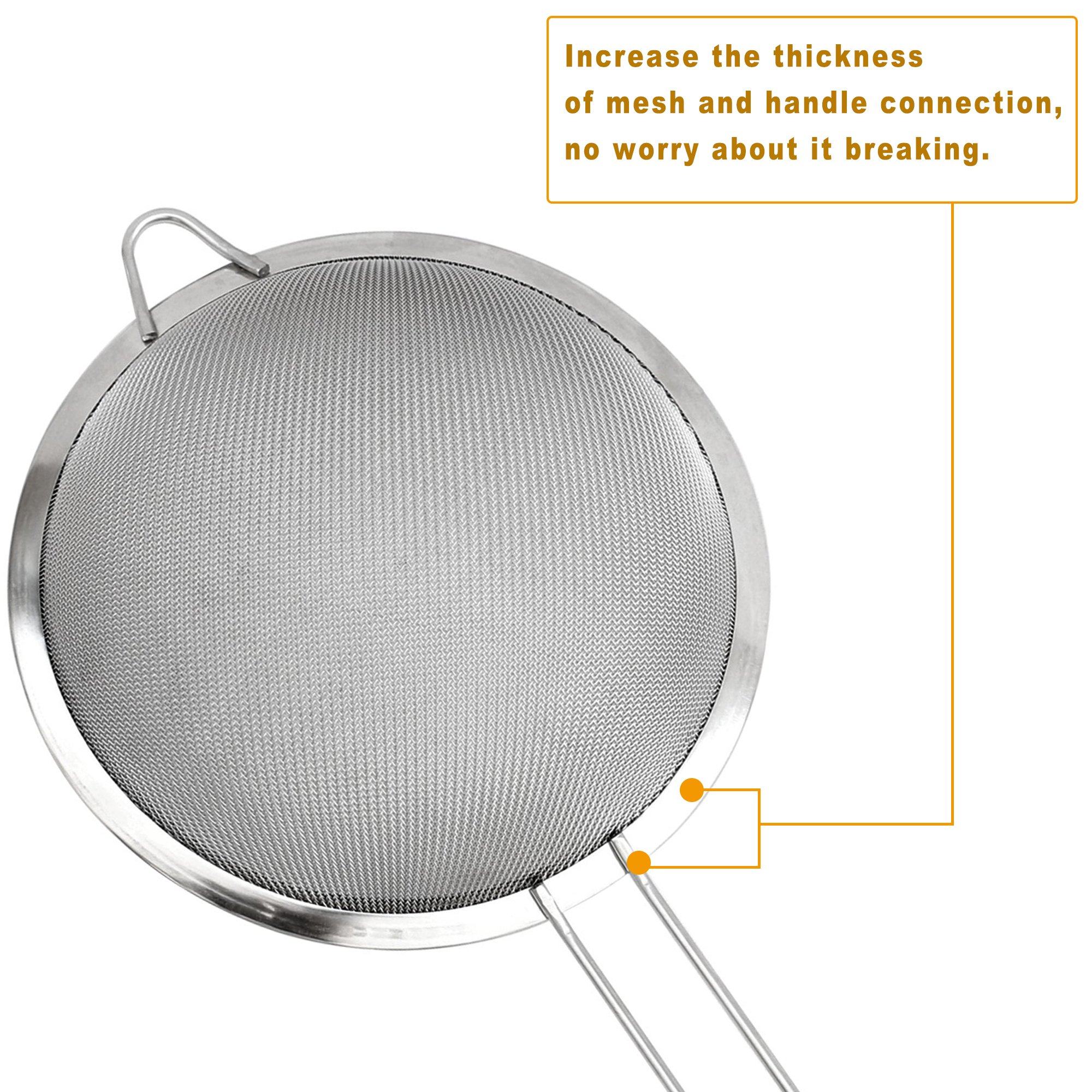 IPOW IP01115 Stainless Steel Fine Tea Mesh Strainer Colander Sieve with Handle for Kitchen Food Rice Vegetable, Set of 3 by IPOW (Image #4)