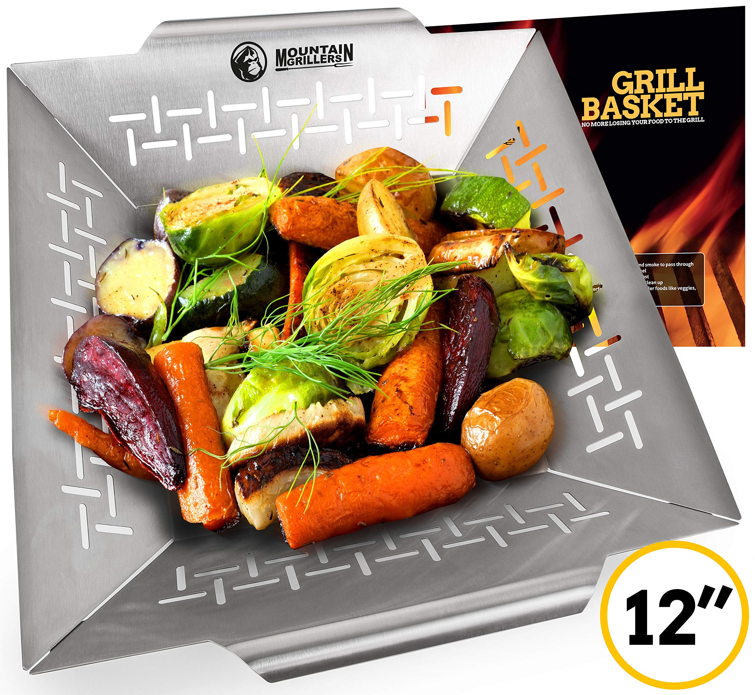 Vegetable Grill Basket - Grilling Basket for Vegetable Meat and Shrimp - Suitable for All Grills BBQ & Smokers - Stainless Steel by Mountain Grillers