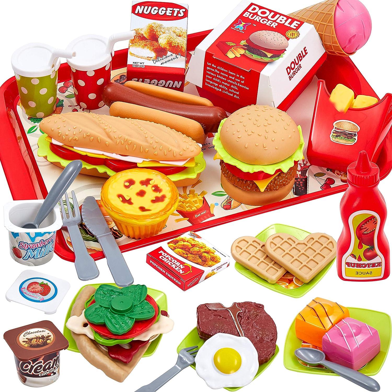 Buyger 63 Piezas Cocina Alimentos Juguete Bandeja Hamburguesa Comida Alimentos Juego de Imitación para Niños 3 Años