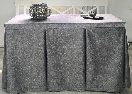 INUSUAL Falda o Ropa de Camilla Rectangular Invierno 120X70X72 Modelo IBI, Textura Suave Satinado Efecto mármol (Plata): Amazon.es: Hogar