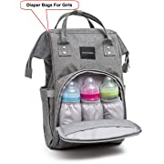 Diaper Bag for Girls - Baby Backpack with Free Changing Pad - Waterproof Maternity Bag Organizer for Girls - Large Capacity Nappy Tote Stylish and Durable for Men and Women -Grey