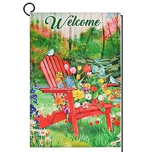 Welcome Garden Flag Tulip Adirondack Chair Double Sided Seasonal Yard Flag, Outdoor Indoor Patio Rustic Home Decor 12x18 Inch