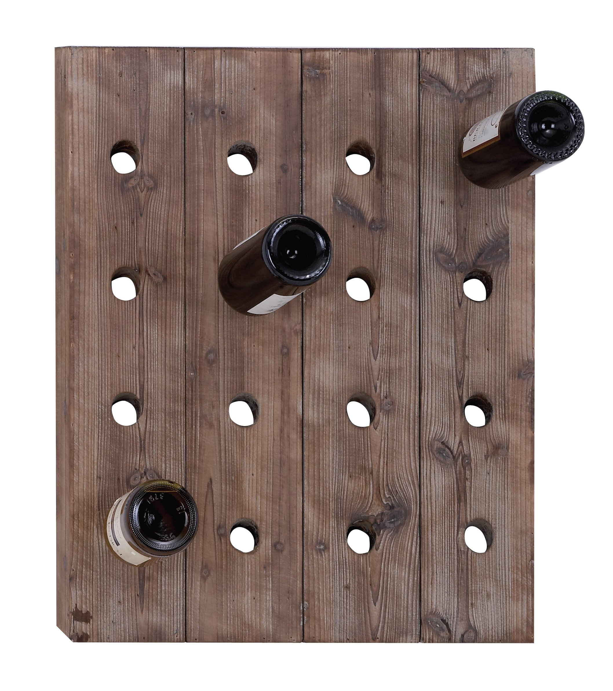 Deco 79 55414 Rustic Reclaimed Wood Hanging Wine Rack with 16 Bottle Pegboard, 25'' x 21''