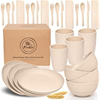 FOODLE Wheat Straw Dinnerware Sets - (28pcs) Lightweight & Unbreakable Dinnerware Set - Microwave and Dishwasher Safe…