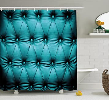 Turquoise Decor Collection Buttoned Couch Sofa Bed Headboard Leather Cover Luxurious Upholstery Art Polyester