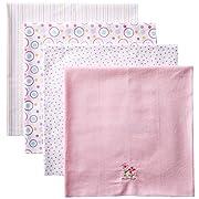 Spasilk Baby-Girls Newborn 4 Pack 100% Cotton Flannel Receiving Blanket, Pink 2 Flowers