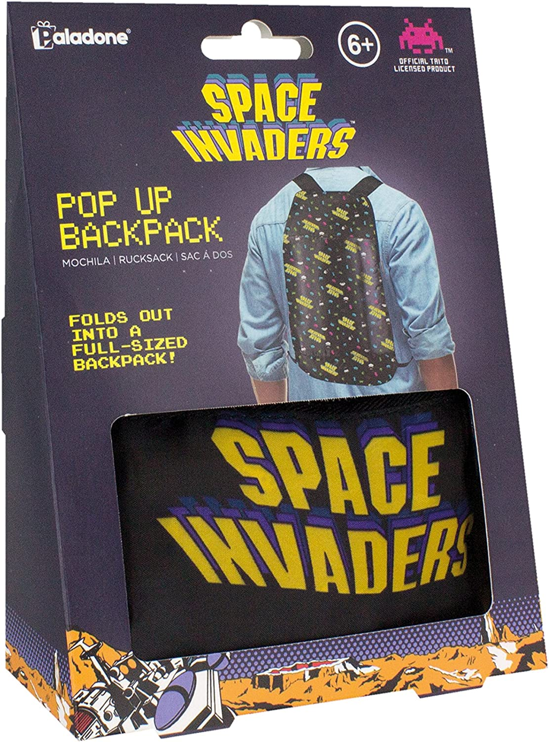Pop Up Backpack Space Invaders