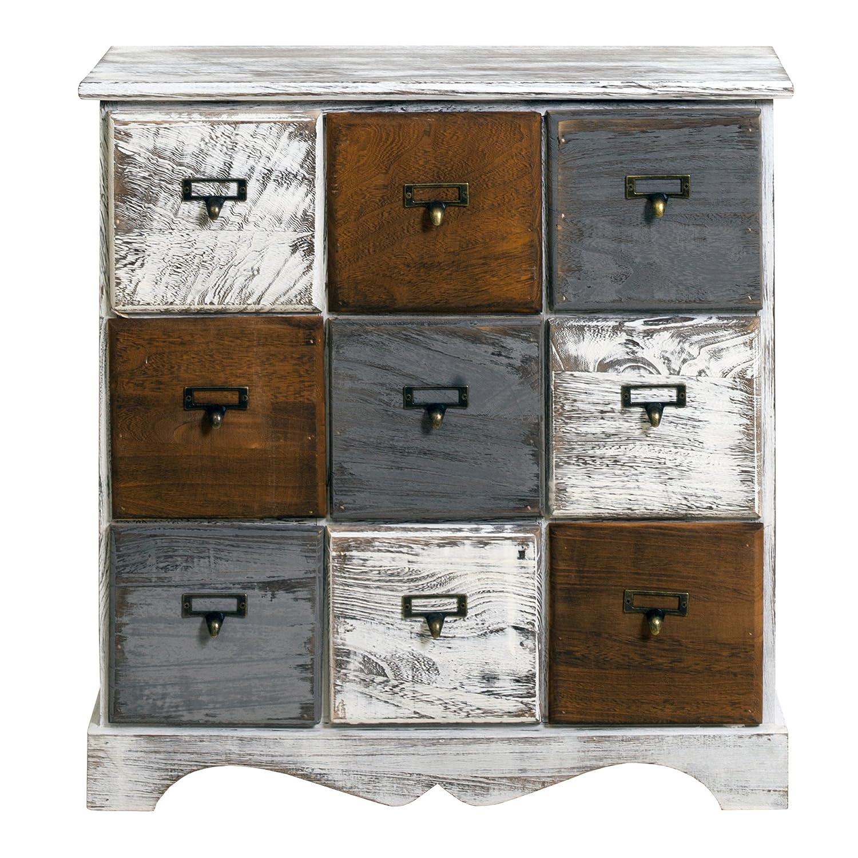 Rebecca Mobili Schubladenkommode 9 Schubladen, Sideboard Weiß, Holz, Shabby Chic, Schlafzimmer Wohnzimmer – Maße: 62 x 60 x 22 cm (HxLxB) - Art. RE4077