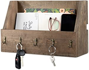 Key and Mail Holder for Wall - Wooden Wall Mount Mail Organizer & Key Rack - Rustic Wood with Antique Brass Hooks, Decorative