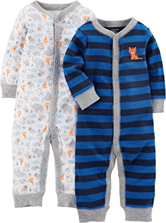Simple Joys by Carters 2 Pack Jumpsuits Footie 6-9 Months Blue Hearts//Gray