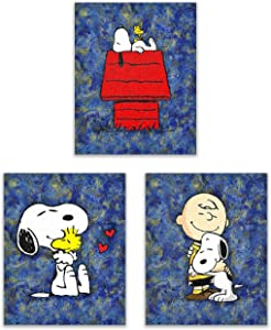 Snoopy Starry Night - The Peanuts Gang Art Prints - On the Doghouse, With Friends Woodstock and Charlie Brown - Our Classic Animation Kids Wall Decor Deluxe Poster Collection - Set of 3 8x10 Photos