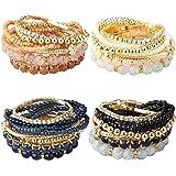 Milacolato 2-4 Sets Stackable Bracelets for Women Multilayer Beaded Bracelets Stretch Bangles Bohemian Style