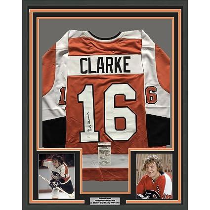 8476c27cc Framed Autographed/Signed Bob Bobby Clarke 33x42 Philadelphia Orange Hockey  Jersey JSA COA
