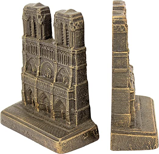 Cast Iron Decorative French Notre Dame Statue Sculpture Bookends//Gift Item