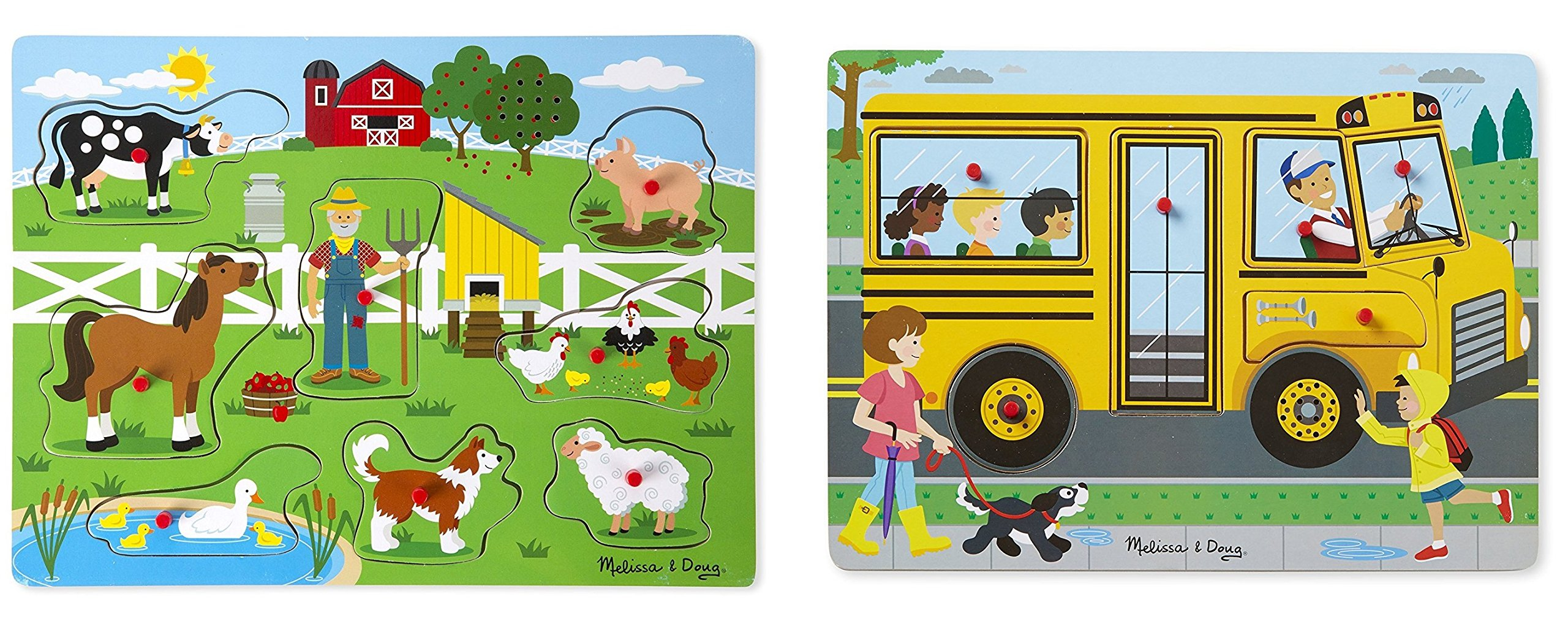 Melissa & Doug The Wheels On The Bus Sound Puzzle (6 Piece) With Old Macdonald's Farm Sound Puzzle (8 Piece)