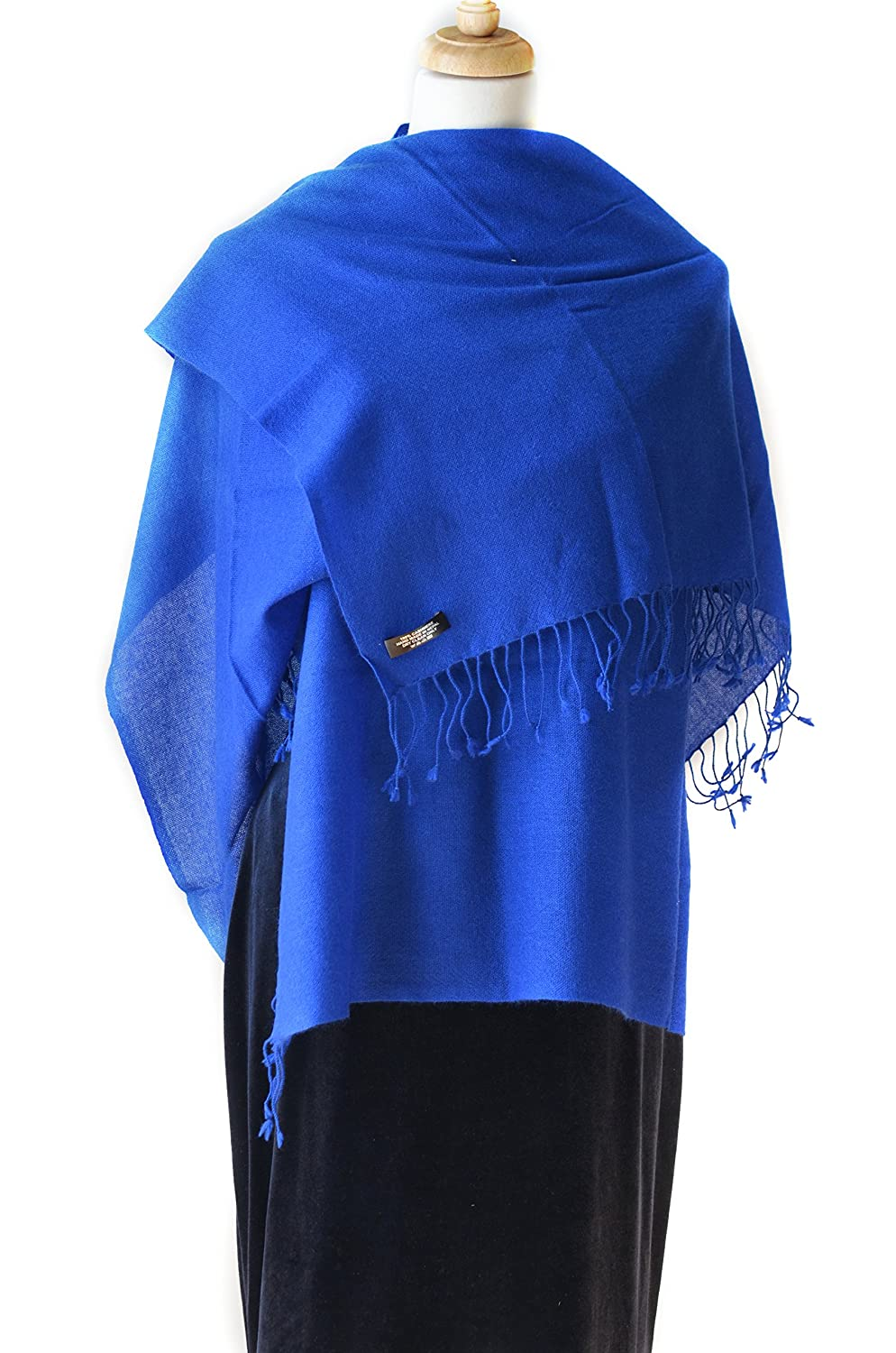 Emperial bluee Cashmere Shawl Scarf Handmade 100% Pure Lightweight Oversized