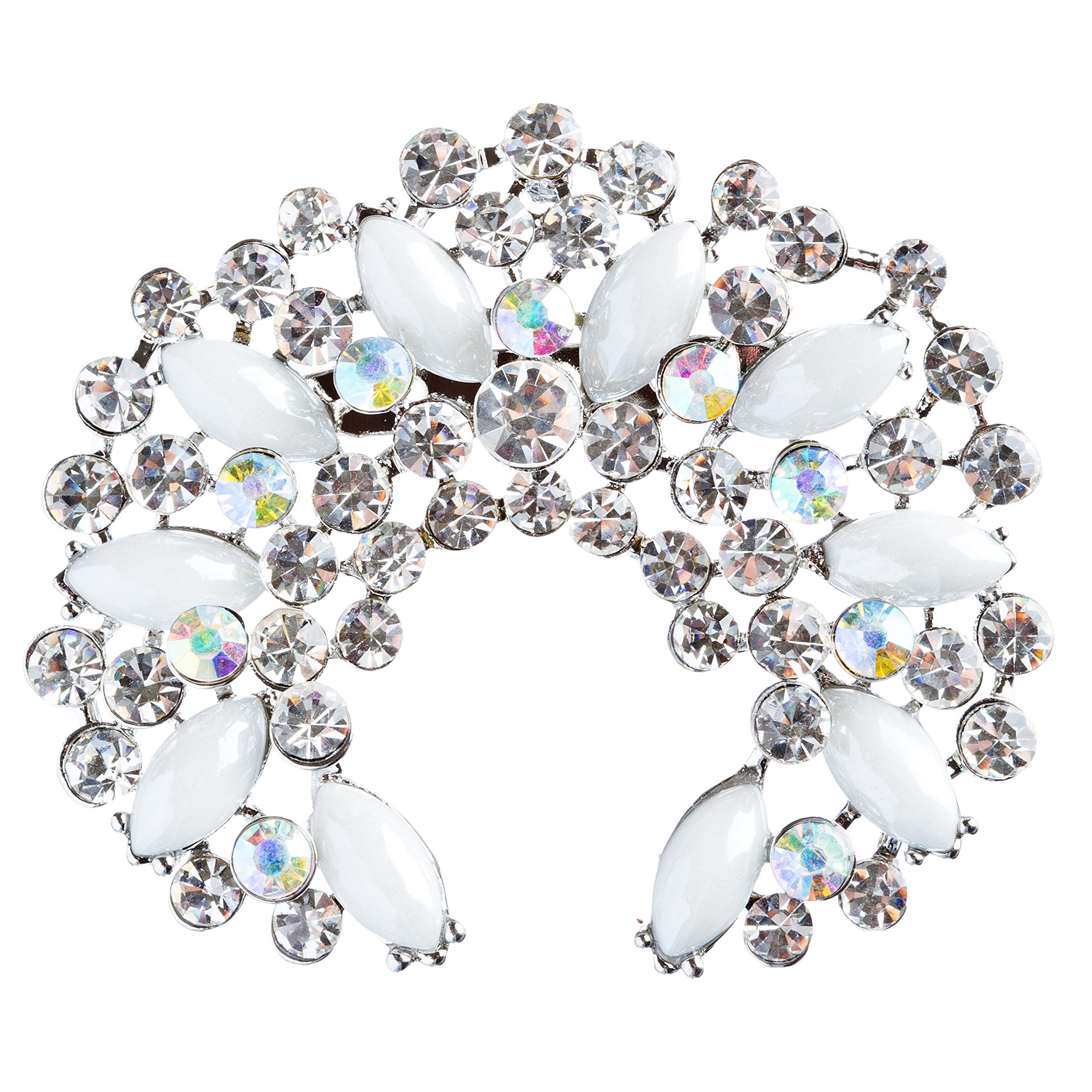 ACCESSORIESFOREVER Women Bridal Wedding Jewelry Crystal Rhinestone Crescent Brooch Pin BH174 Silver