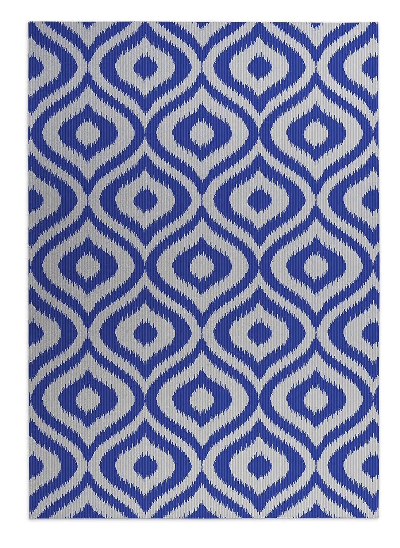 KAVKA Designs Ikat Ogee Indoor-Outdoor Floor Mat, - Blue//Ivory Size: 24x36x0.2 - BGAAVC017FM23