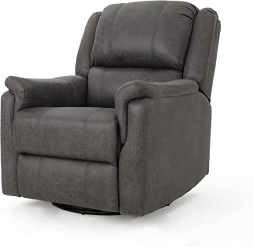 Jemma Tufted Slate Microfiber Swivel Gliding Recliner Chair