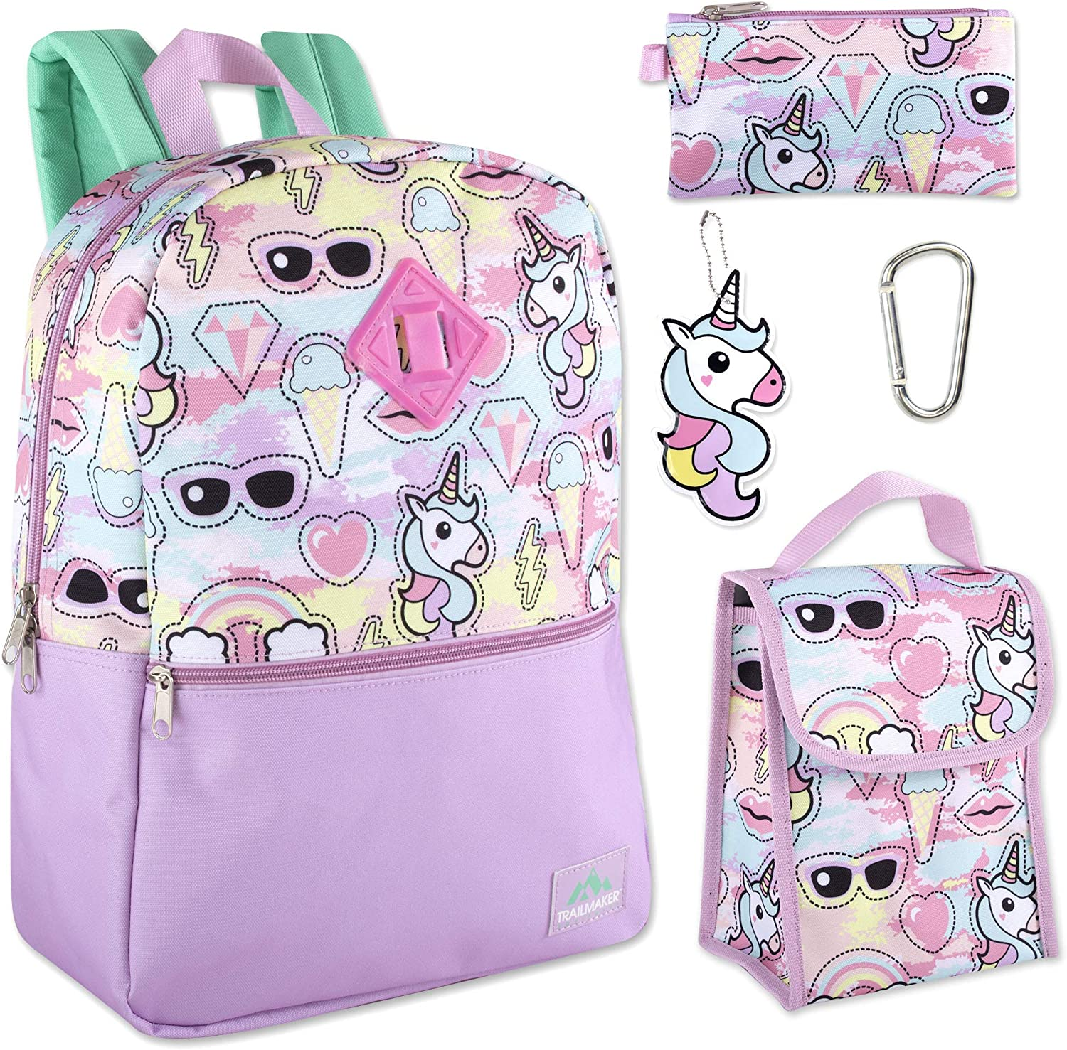 Trail maker 5 in 1 Full Size Character School Backpack and Lunch Bag Set For Girls (Unicorns)