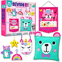 KRAFUN Beginner My First Sewing Kit for Kids Art & Craft, Includes 6 Easy Projects Stitch Stuffed Animal Dolls and Plush…