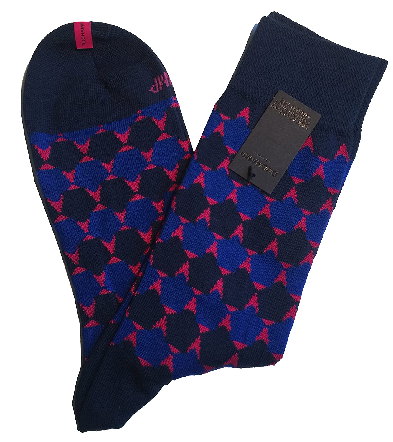 DUCHAMP LONDON Mens Multi Grey Geometric Pattern Socks One Size UK 7-11 EU 41-46