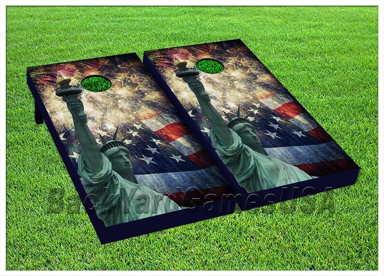 CornholeボードBeanbag Toss Game Wバッグ自由の女神Patriotic US Flag 233   B0716PD2DP