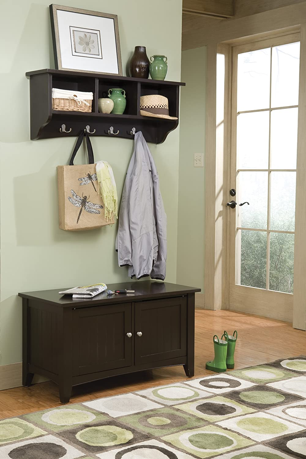 Alaterre Shaker Cottage Wall Mounted Coat Hook with 3 Cubbies and Storage Bench Cabinet Set, Chocolate