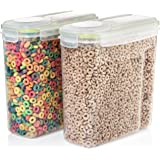 Seal & Stow Cereal Container Set - Large Plastic Food and Snack Kitchen Storage Containers with Lid - Small Dog Food Container - Airtight and BPA Free - Great for Kids Breakfast Dry Cereal