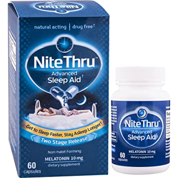 NiteThru Advanced Sleep Aid, 60 Ct, Non-habit forming, Melatonin Dietary Supplement