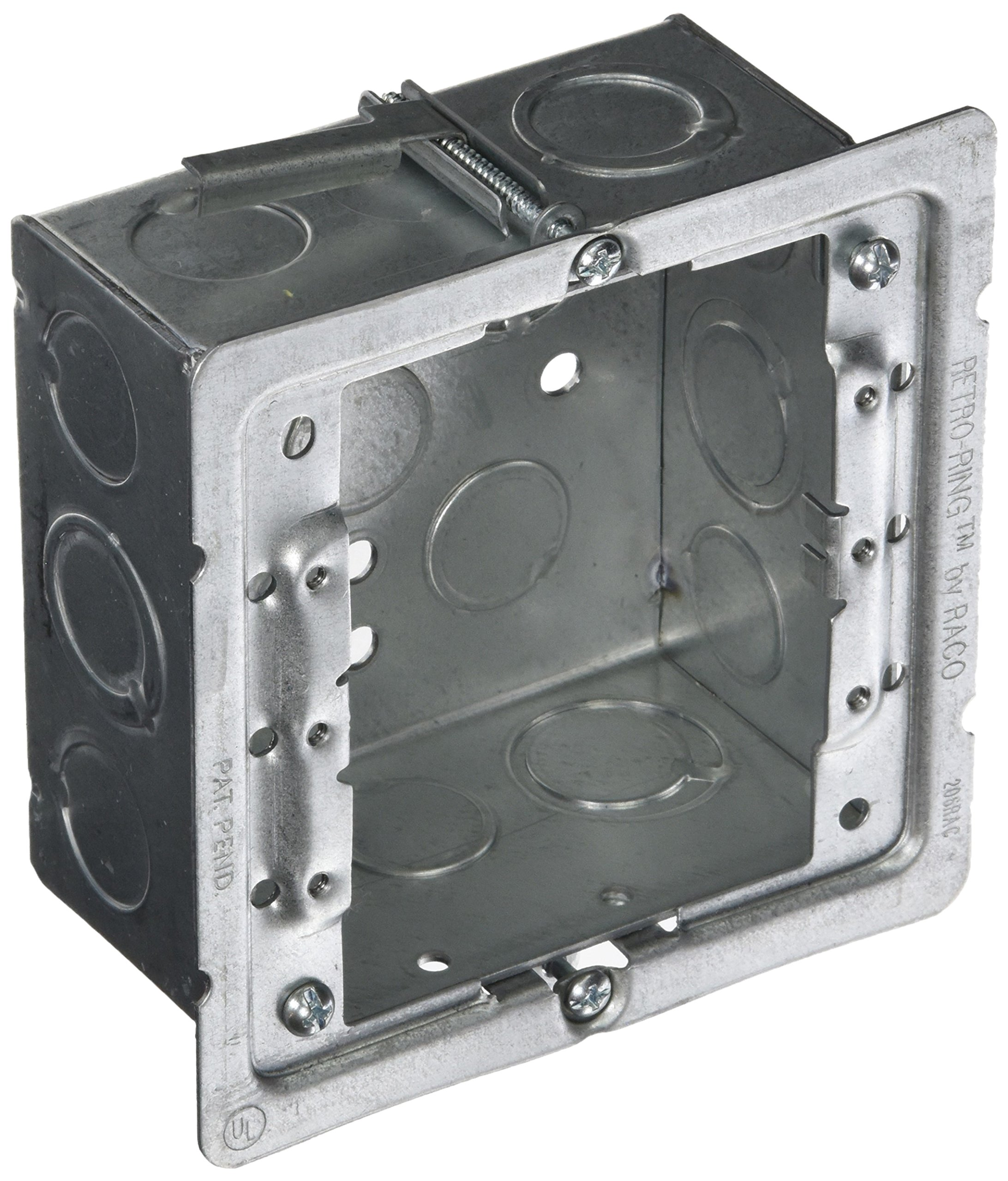 Hubbell-Raco 232-OW Old Work 2-1/8-Inch Deep Square Box Kit, Welded with 206RAC, (8) 1/2-Inch & (4) TKO Eccentric Side Knockouts, 4-Inch by Hubbell (Image #1)
