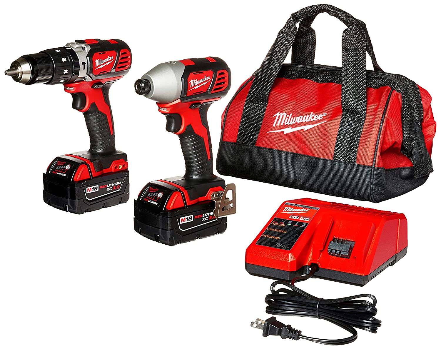 Milwaukee 2697-22 M18 18-Volt 1 2-Inch 2-Tool Combo Kit Includes Charger, Battery 2 and Bag