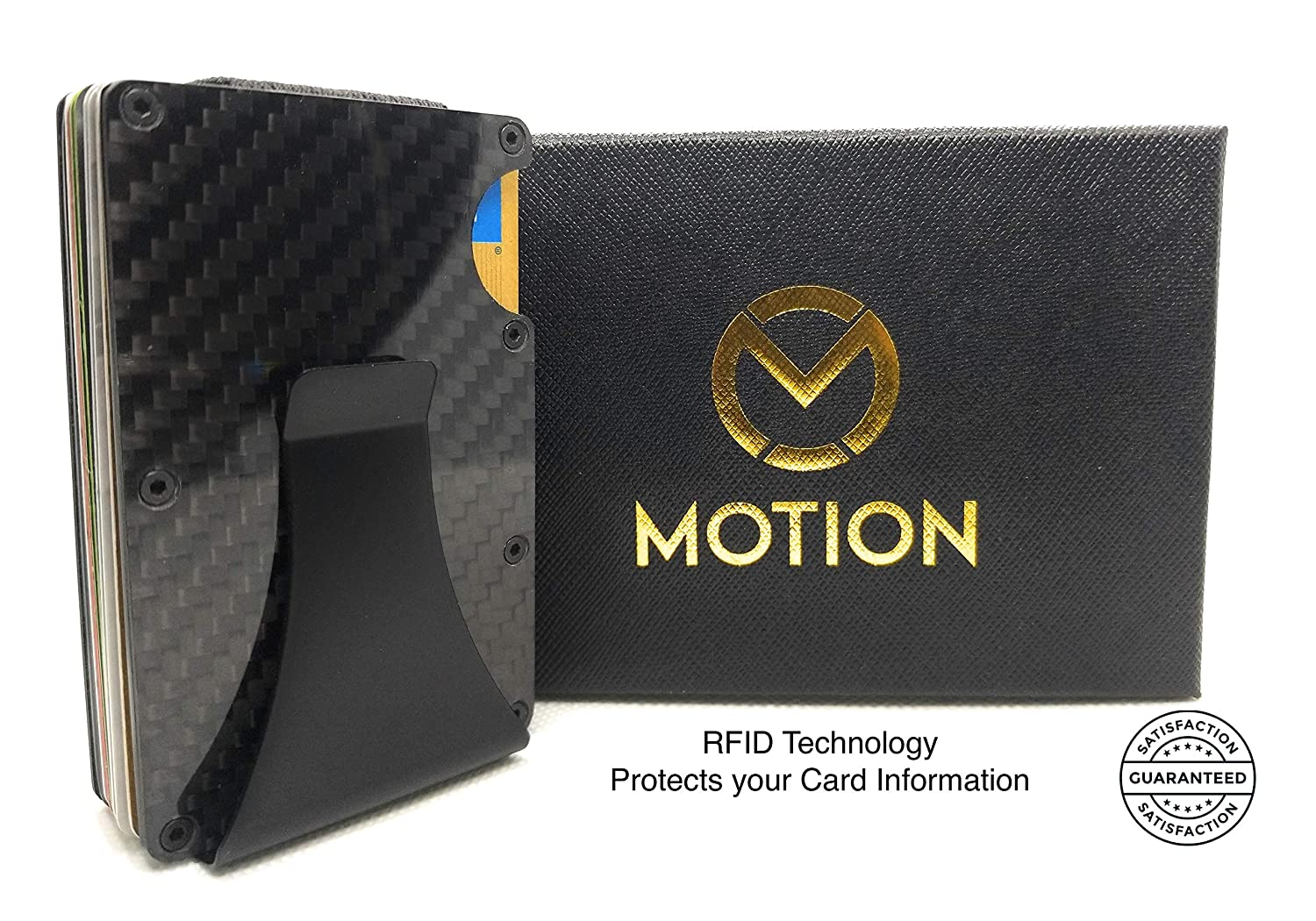 Carbon Fibre Men's Wallet RFID Blocking Money Clip Credit Card Holder by MOTION