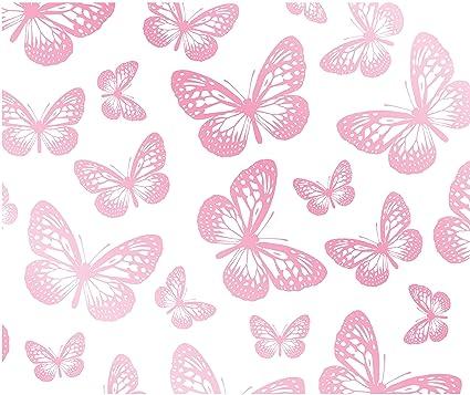 Fun4walls Butterflies Wallpaper White Pink Amazon Co Uk Kitchen Home