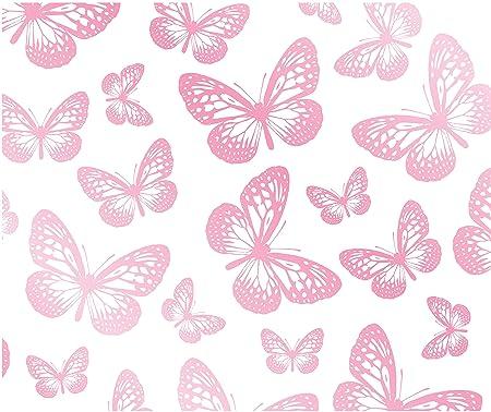 Fun4Walls Butterflies Wallpaper White Pink