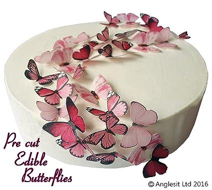 48 x Vorgeschnittene schöne rosa Schmetterlinge essbares Reispapier/Oblatenpapier Kuchendekoration, Dekoration für Cupcake Ku
