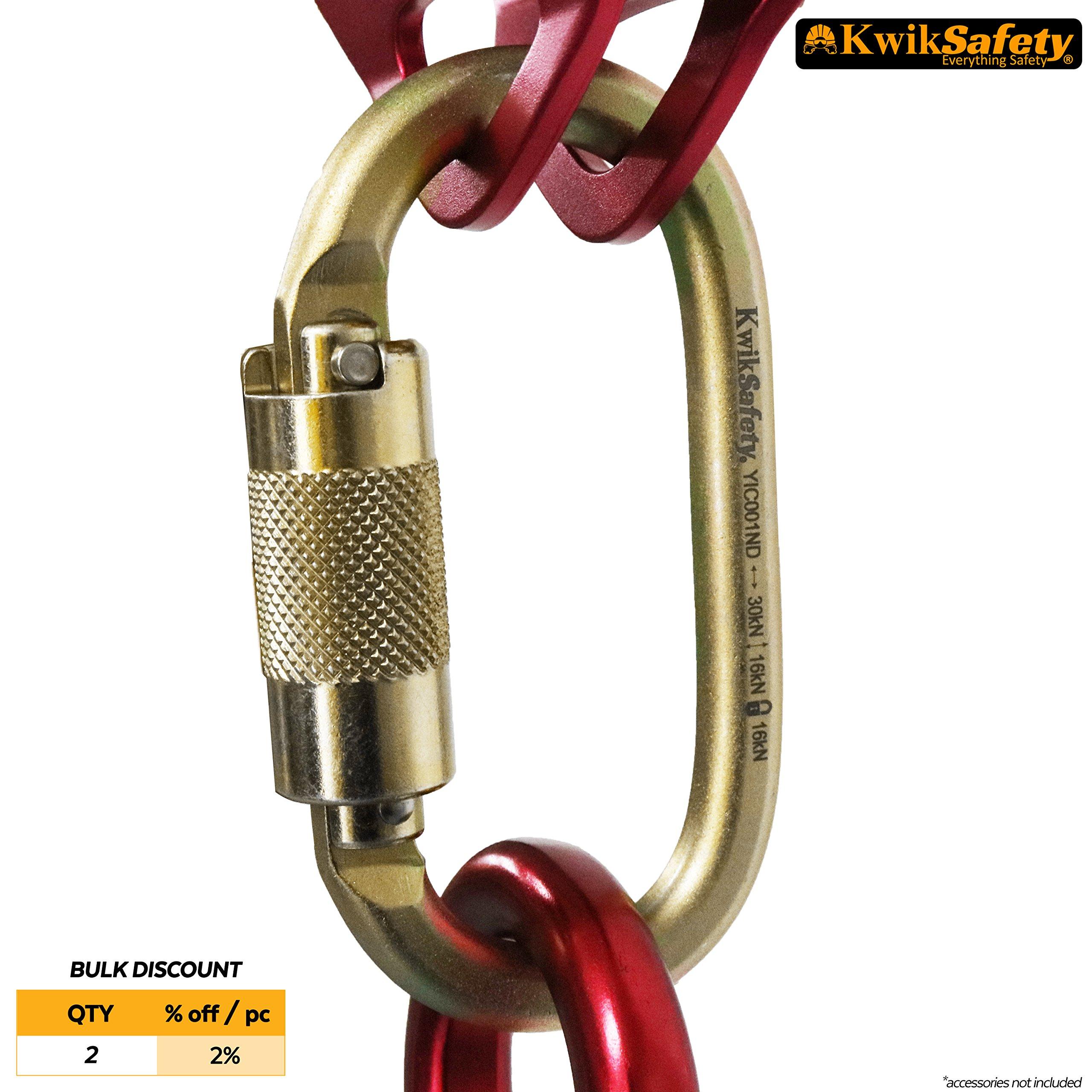 KwikSafety ANNEX | KS-N-244G Steel Carabiner | Heavy Duty Yoke Twist Lock Gate | 30 kN Min. Breaking Load 16 kN Gate Strength | ANSI Certified | Multifunctional Construction Fall Protection Tool by KwikSafety
