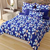 Home Candy Fruity Bloom 120 TC Cotton Double Bedsheet with 2 Pillow Covers - Floral, Blue