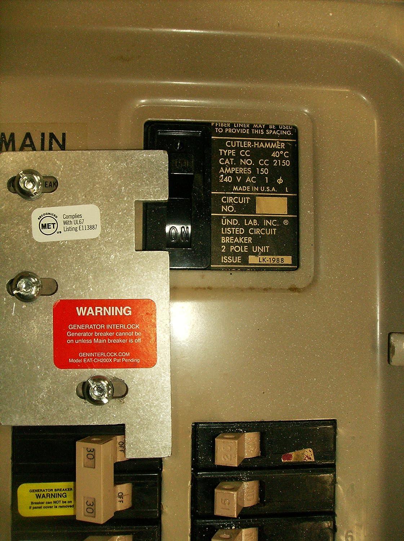 CH-11 Generator Interlock Kit For Cutler Hammer Breaker Panel