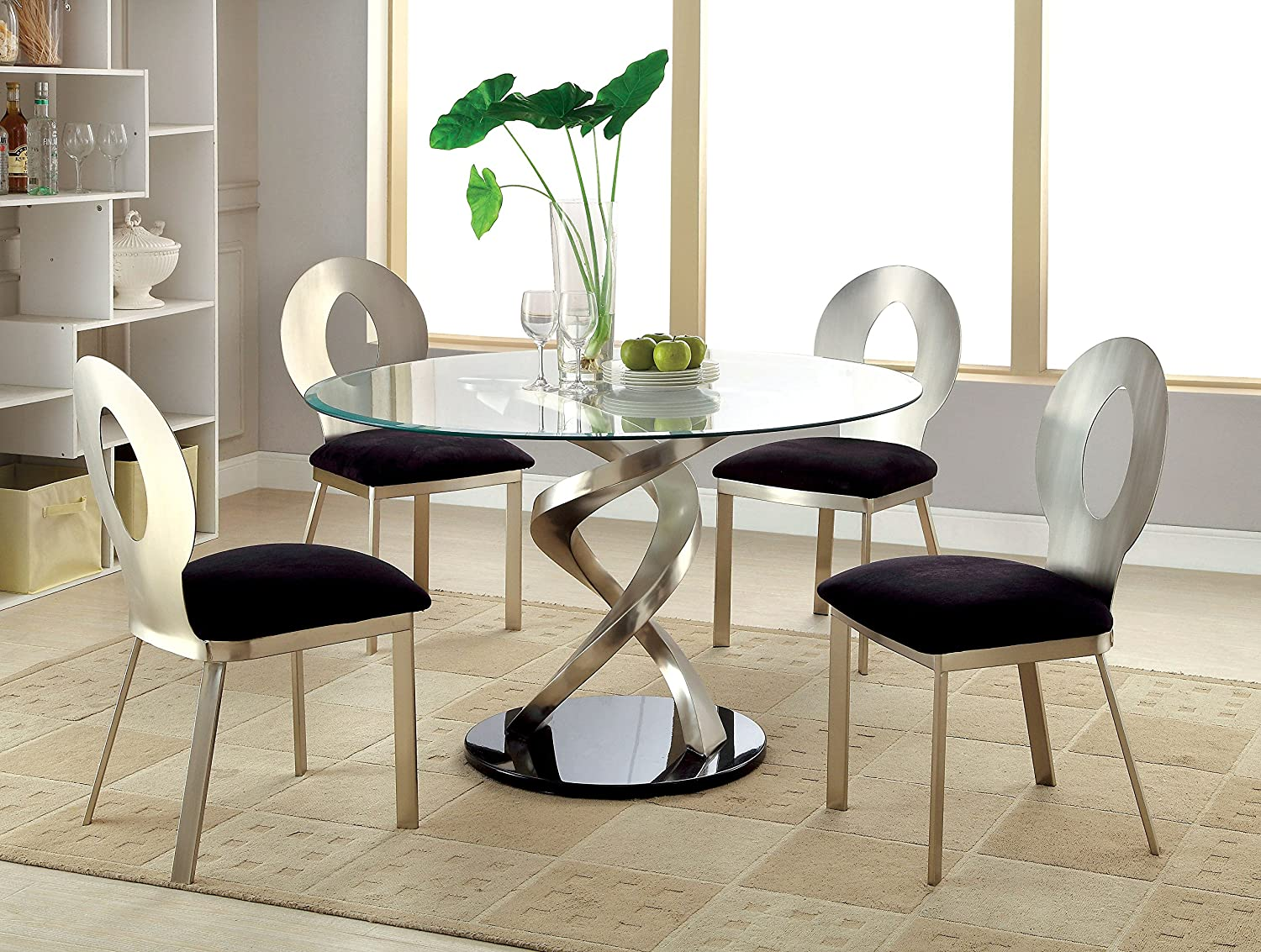 Amazon Com Furniture Of America Catarina I 5 Piece Round Glass Top Dining Set Table Chair Sets
