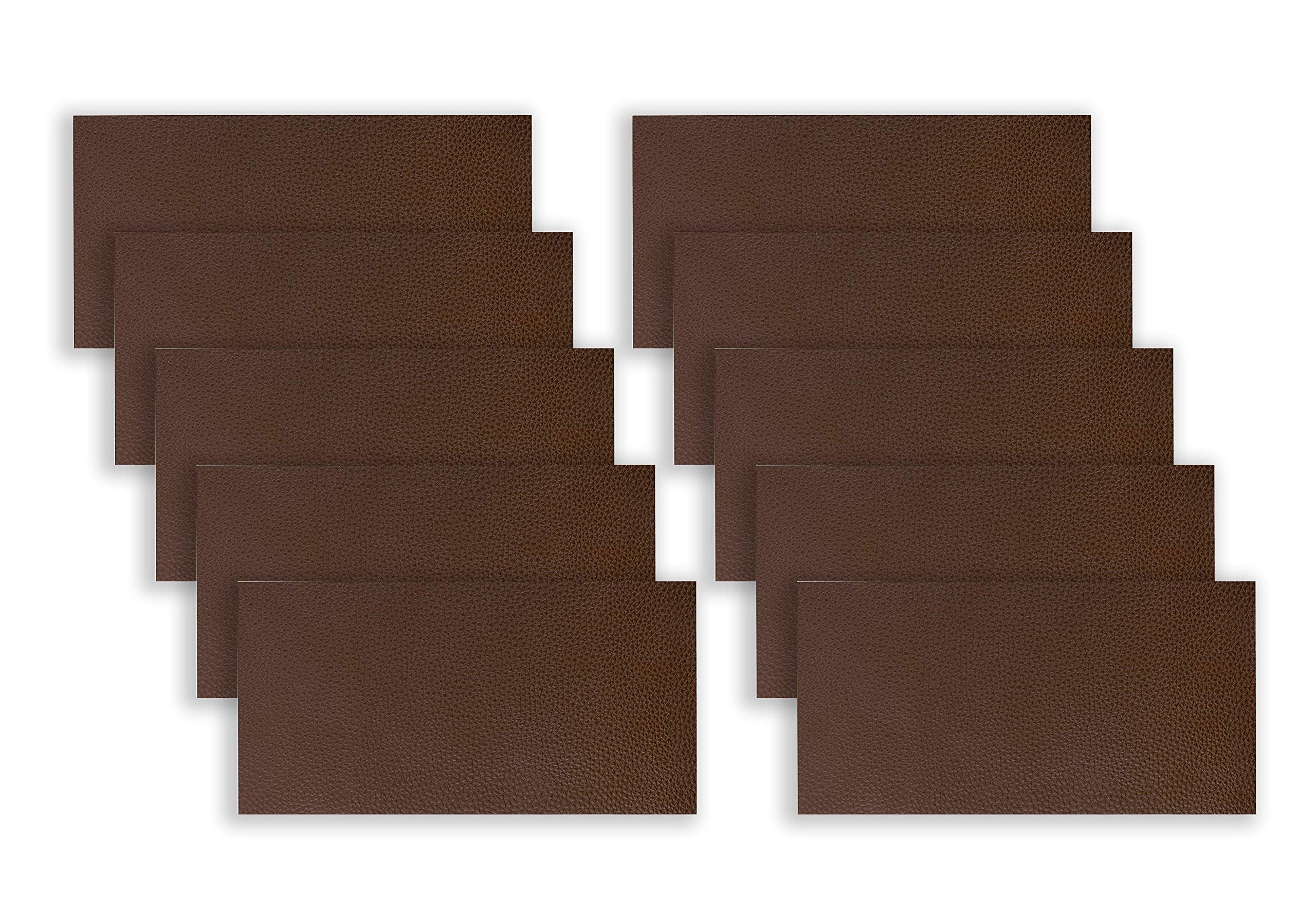 10 PCS Leather Repair Patch,4x8 inch Leather Adhesive Kit for Couch Furniture Sofas Car Seats Handbags Jackets (Dark Brown) by Medou