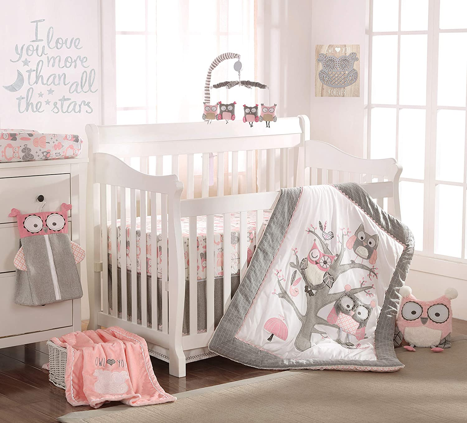 Amazon Com Levtex Baby Night Owl Pink Crib Bed Set Baby Nursery Set Pink Grey White Owls In A Tree 5 Piece Set Includes Quilt Fitted Sheet