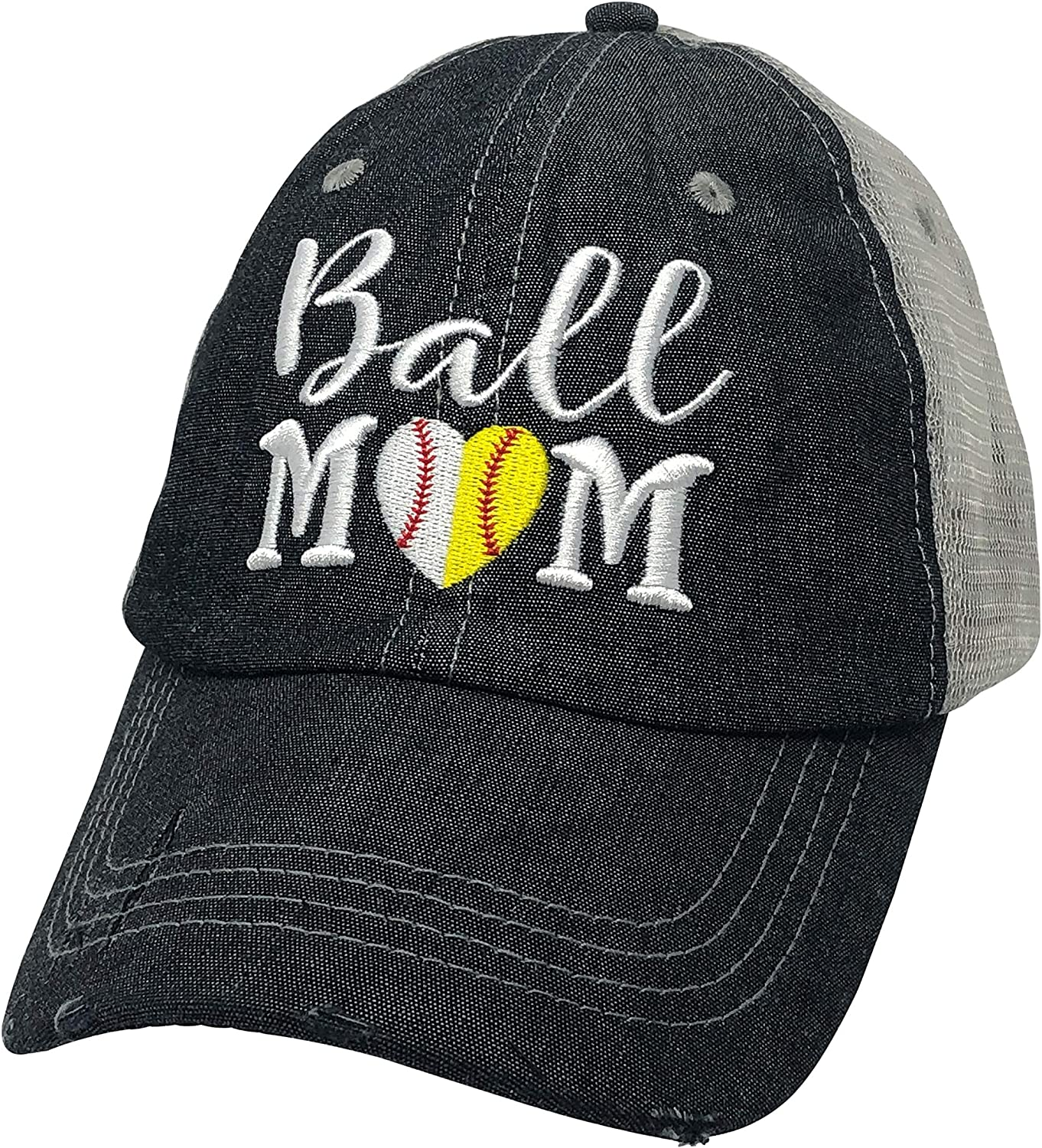 Cocomo Soul Embroidered Ball MOM Softball Mom Baseball Mom Mesh Trucker Style Hat Cap Dark Grey