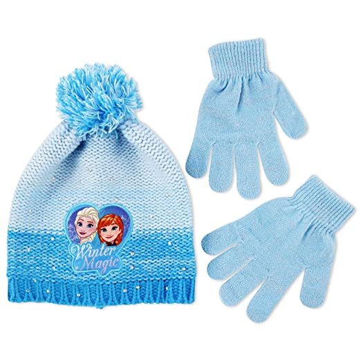 af7e2887feec7 Amazon.com  Disney Little Girls Frozen Elsa and Anna Beanie Hat and Gloves  Cold Weather Set