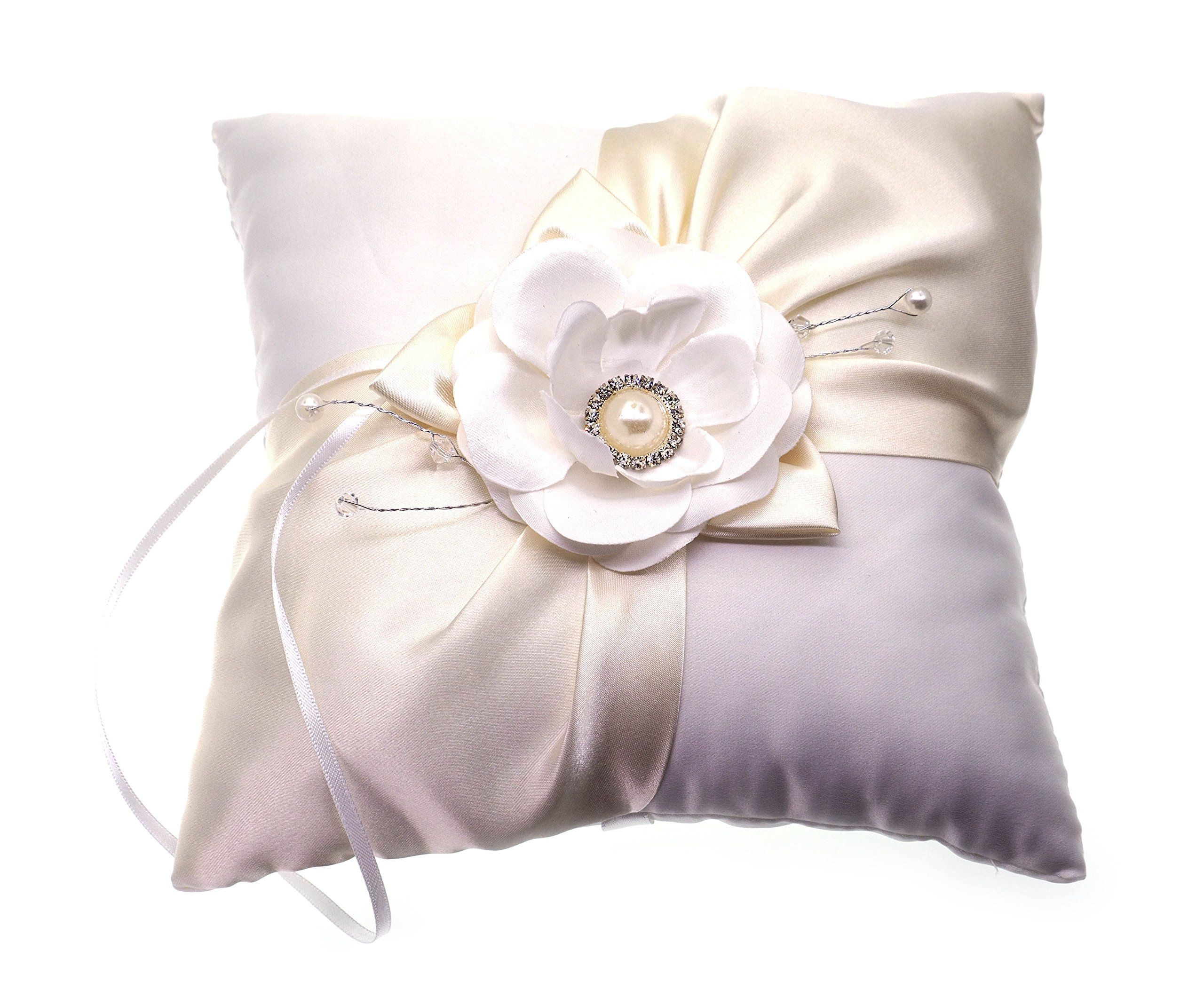 Creationtop 2020cm Luxe Flower Buds Faux Pearls Decor Bridal Wedding Ceramony Pocket Ring Pillow Cushion Bearer with Ribbons (Style 4)
