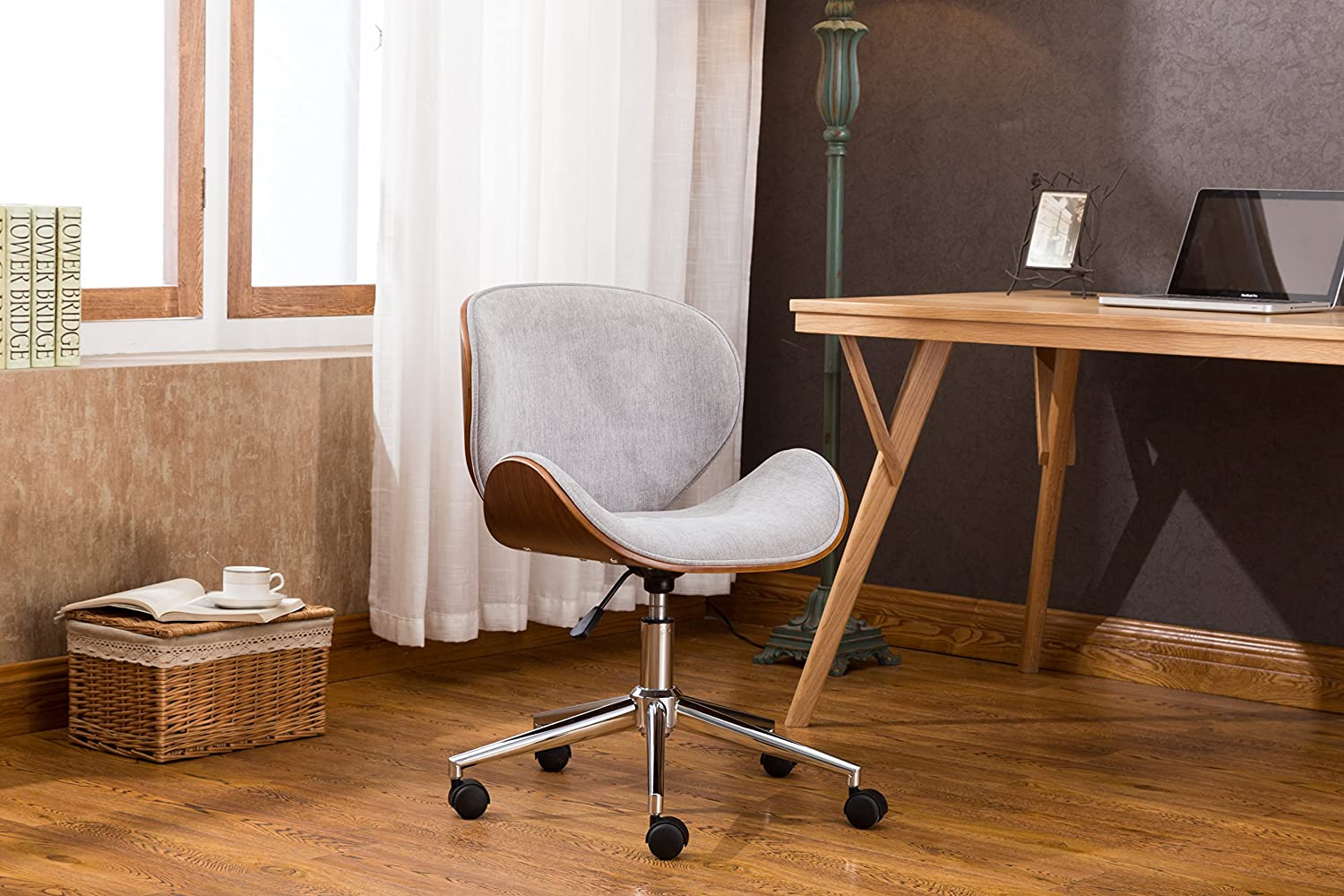 Porthos Home TFC034B GRY Branson Mid-century Style Office Chairs With Fabric Upholstery, Adjustable Height, 360° Swivel And Stainless Steel Legs, Gray