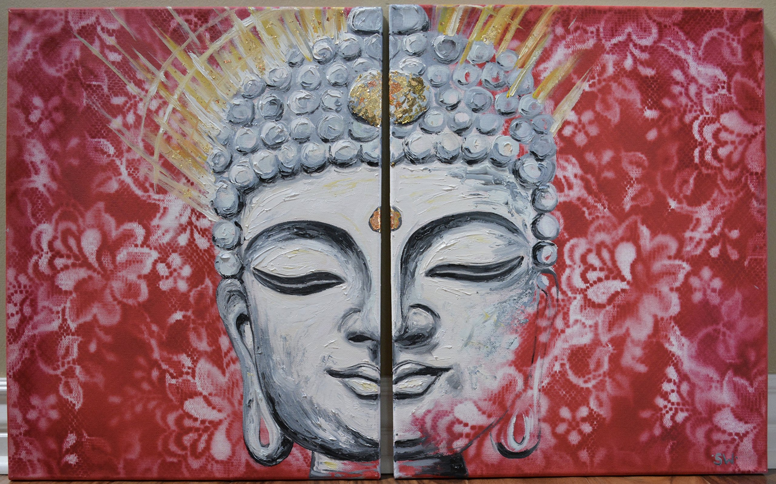 Enlightenment Stone Buddha with red lace Original Oil Painting, Buddha face, gold, spiritual, zen, fengshui by Sheri Wiseman Art